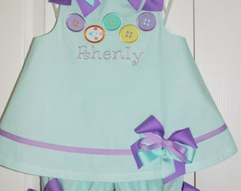 Cute as a Button Applique Bloomer Set Birthday Outfit Free Monogramming