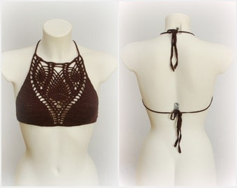 EXPRESS SHIPPING to US, Canada! Festival top. Halter neck crochet crop top, chocolate brown top, hippie style top, summer hippy top