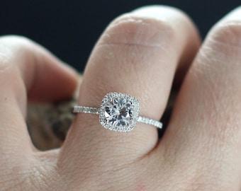 White Topaz Engagement Ring Cushion Halo Diamond Cuscino Petite Round cut 1ct 6mm Custom White-Yellow-Rose Gold-10k-14k-18k-Platinum