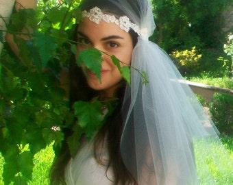 Lace Bridal Cap Veil, Fingertip Juliet Bridal Cap, Ivory Wedding Veil, Ivory French Alencon Lace Wedding Headpiece, Bohemian Veil, Art Deco