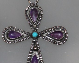 Vintage Sterling Silver Cross Necklace with Various colored stones Turquoise Purple and Red Southwestern Native American Boho Glam