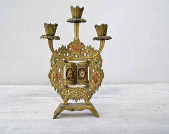 Jerusalem Brutalist Candelabra, Vintage Jewish Sabbath Candelabra Brass, Israel Judaica Art, Shabbath Candle Holders, 10 Ten Commandments