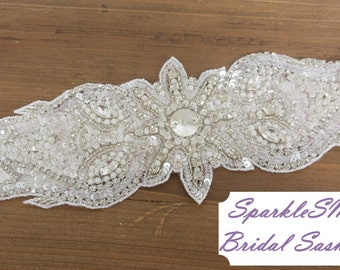 Crystal Bridal Belt, Wedding Belt, Bridal Sash, Rhinestone Applique, Bridal Belt, Bridesmaids Sash, Pearl Bridal Sash, Pearl Bridal Belt