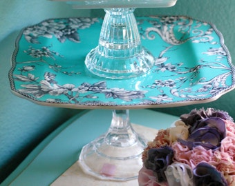 Turquoise Blue Weddings - Dessert Pedestal for Cupcakes Truffles Macarons Petit Fours Cake Pops Cake Balls / Inspired by Tiffany & Company