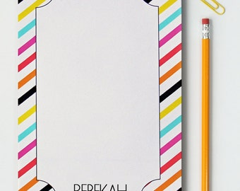 Custom Notepad Personalized Notebook Paper Note Pad Matching Desk Set Colorful Stripes Note Paper Fun School Supplies Graduation Gift Modern