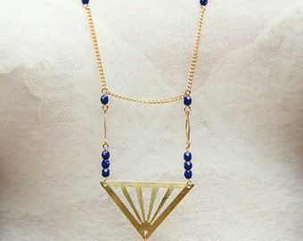 geometric long necklace, triangle necklace, gold and blue, geometric jewelry, dark blue necklace, triangle jewelry
