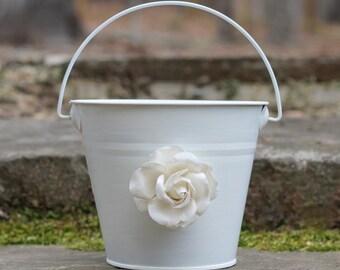 Flower Girl Basket Shabby Chic Pail Paper or Burlap Rose, Custom Color Pail, Rustic, Shabby Chic Weddings