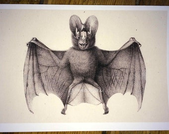 bat by brodtman glorious creepy nature print no. 2