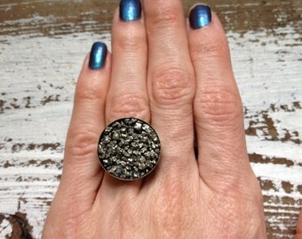 Druzy Ring - Druzy Pyrite Ring - Crystal Cluster Ring - Raw STone Ring - Galaxy Statement Ring - Adjustable Ring - Brass Ring - Steampunk