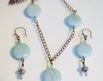 Amazonite and Copper Necklace and Earrings Set Handmade