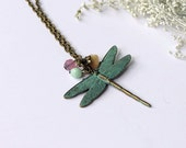 Dragonfly necklace - Patinated by hand - Beaded - For her