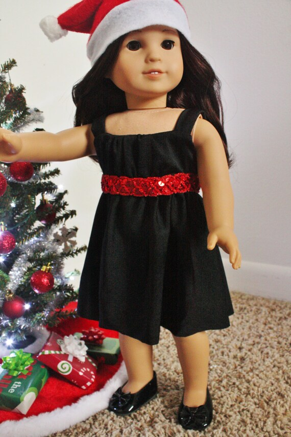 Trendy Holliday empire waist dress for American Girl, 18 inch doll, modern clothes, Christmas, olive black and red, party dress