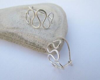 Sterling Silver Hoop Earrings. Infinity Earrings. Artisan Squiggle Hoops. Wire Earrings. Modern Everyday Small Hoop. Israel Jewelry