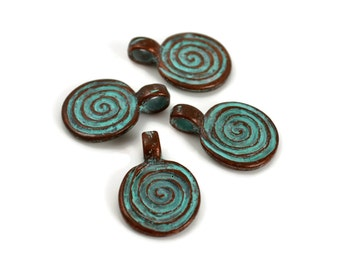 4 Mykonos Spiral Pendant - 18mm Green Patina