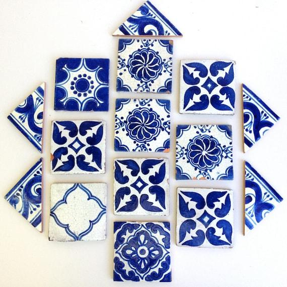 Mexican tiles, Talavera clay tile, white cobalt blue terra cotta, vintage set
