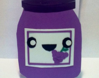 Handmade Kawaii Grape Jelly Jar Card- Cardstock