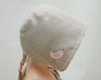 Baby bonnet Toddler sun hat Scandinavian style sun bonnet Childrens summer hat Linen Gray and Pink with Bird Embroidery