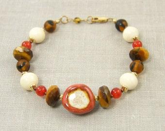 Tigers Eye Bracelet - Rust Brown Tan Chunky Bead Earth Tone Beaded Jewelry
