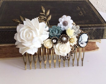 White Wedding Comb Bridal Hair Accessories Head Comb with accent of Gray, Black, Ivory Cream Leaves Rhinestone Pearl The Great Gatsby JW