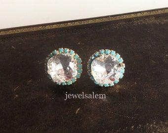 Swarovski Earrings for Bride Bridal Jewelry, Crystal Earrings, Wedding Earrings, Silver Turquoise Blue Rhinestone Studs