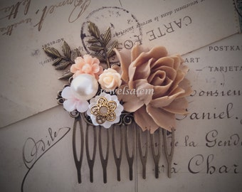 Bridal Hair Comb Big Rose Flower Blush Beige Brown Rustic Branches Leaf Floral Headpiece For Bride Shabby Romantic Vintage Style Wedding WR