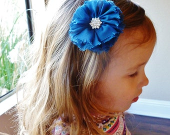 3 inch navy blue ballerina chiffon hair flower with rhinestone-flower girl hair accessorie clip by bows for show
