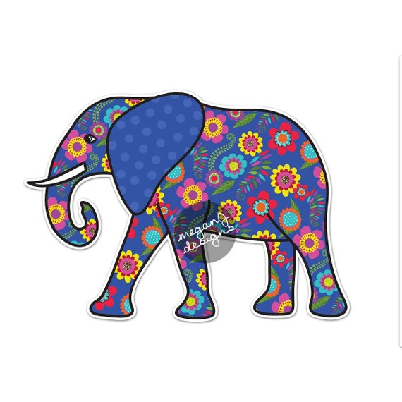 Elephant Car Decal Blue Floral Colorful Bumper Sticker