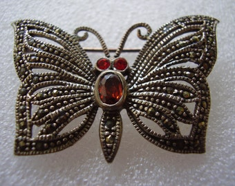 Sterling Silver Butterfly Pin with Garnet and Marcasites