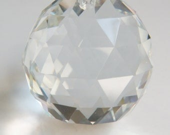 1 Faceted Crystal Ball large suncatcher clear crystal round pendant 46x40mm PGD40