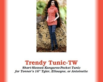 "Trendy Tunic-TW--PDF Knitting Pattern for Robert Tonner's 16"" dolls like Tyler Wentworth, Ellowyne Wilde, and Antoinette or Cami dolls"