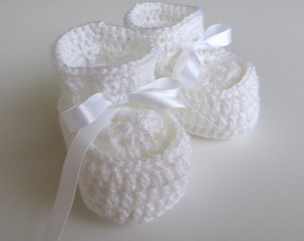 White Baby Booties with White Satin Ribbon for 0 to 3 Month Infant Boys and Girls