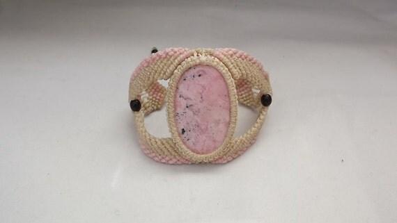 Peruvian Pink Quartz Macrame Bracelet OOAK
