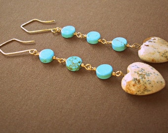 Turquoise & Jasper Heart Earrings / jasper earrings / heart dangle earrings