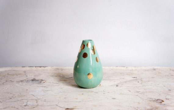 mint and gold teardrop vase
