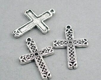 Cross Charms Antique Silver 5pcs base metal 19X29mm CM0717S