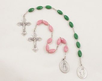 Saint Patrick or Saint Bridget Chaplet, Pink or Kelly Green Celtic Cross Beads - Catholic Prayer Beads - Silver Plated Crucifix & Medal
