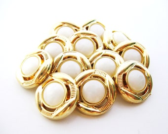 White Gold buttons - set of twelve - 18 mm