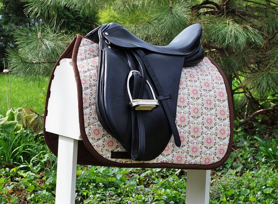 CLEARANCE SALE Ready To Ship - Pink, Brown, and Ivory Floral Dressage Saddle Pad