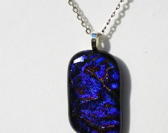 Deep Blue Cobalt Blue Dichroic Fused Glass Pendant - Handmade Jewelry