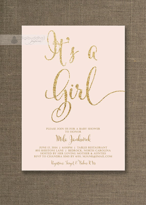 blush pink gold baby shower invitation it 39 s a girl glitter pastel