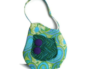 1950's Vintage Inspired Bag, Turquoise Blue Lime Green Flowers and Paisley Swirls PurseTote 1950s Style