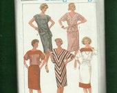 Vintage 1984 Simplicity  6745 Dolman or Drop Shoulder Dresses Tops with Bateau or V Necklines  Size 10 UNCUT