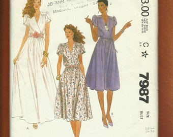 Vintage 1982 McCalls 7987 Tulip Sleeve Flared Evening & Day Length Dresses with Soft Flowing Bodice Size 12
