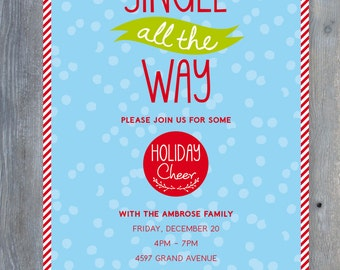 CHRISTMAS Party Invitation. Printable file 7x5. Print or email your own.
