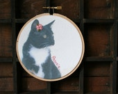 Custom pet portrait / printed on fabric / embellished with embroidery / cute kitty photo / embroidered name / pet home decor