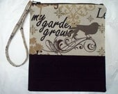 Sale - Zippered wristlet pouch - My Garden Grows - Black and White -