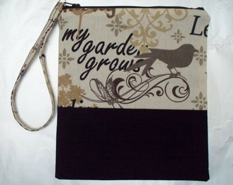 Wristlet pouch - My Garden Grows - Black and White - Zippered Purse