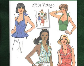 Simplicity 1365 Retro 1970's Halter Top With Four Variations Including Peplum, Sizes 6 to 14, UNCUT, NEW