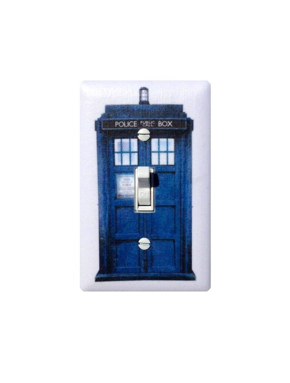 Unavailable listing on etsy for Tardis light switch cover