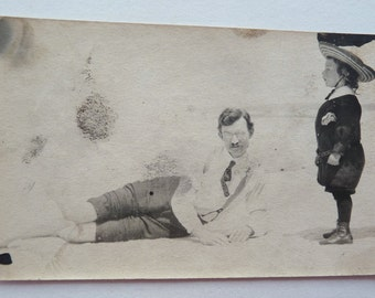A Man and A Boy on the Beach  c. 1910s to 1920s Photograph, Father and Son